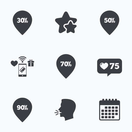 reductions: Sale pointer tag icons. Discount special offer symbols. 30%, 50%, 70% and 90% percent discount signs. Flat talking head, calendar icons. Stars, like counter icons. Vector Illustration