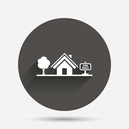 broker: Home sign icon. House for sale. Broker symbol. Circle flat button with shadow. Vector Illustration