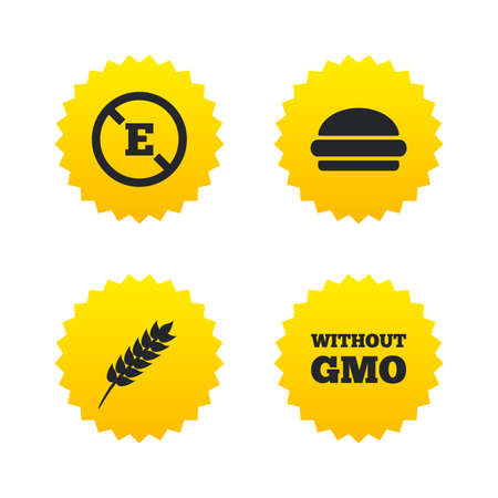 stabilizers: Food additive icon. Hamburger fast food sign. Gluten free and No GMO symbols. Without E acid stabilizers. Yellow stars labels with flat icons. Vector