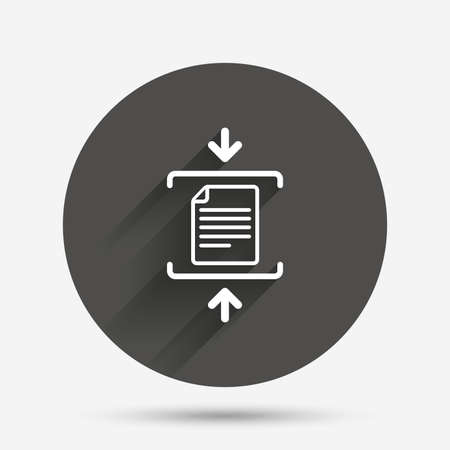 compressed: Archive file sign icon. Compressed zipped file symbol. Arrows. Circle flat button with shadow. Vector