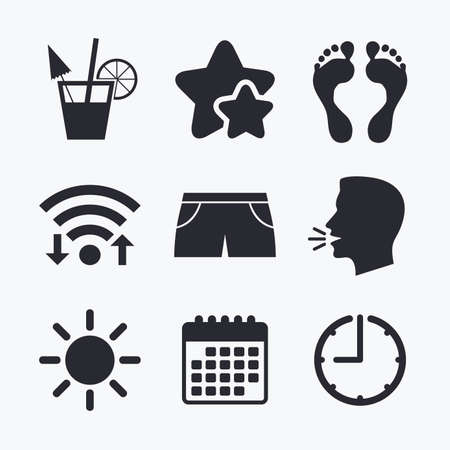 swimming trunks: Beach holidays icons. Cocktail, human footprints and swimming trunks signs. Summer sun symbol. Wifi internet, favorite stars, calendar and clock. Talking head. Vector Illustration