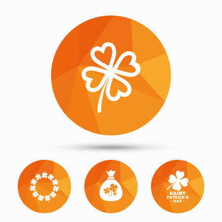 clover buttons: Saint Patrick day icons. Money bag with clover sign. Wreath of quatrefoil clovers. Symbol of good luck. Triangular low poly buttons with shadow. Vector