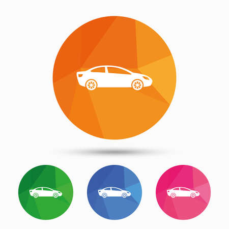 sedan: Car sign icon. Sedan saloon symbol. Transport. Triangular low poly button with flat icon. Vector Illustration