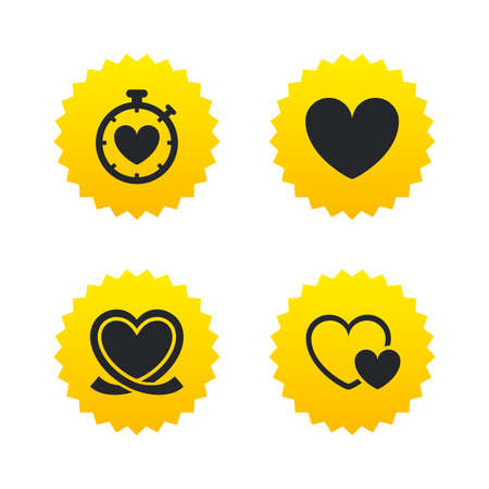 palpitation: Heart ribbon icon. Timer stopwatch symbol. Love and Heartbeat palpitation signs. Yellow stars labels with flat icons. Vector