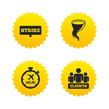 gale: Strike icon. Storm bad weather and group of people signs. Delayed flight symbol. Yellow stars labels with flat icons. Vector