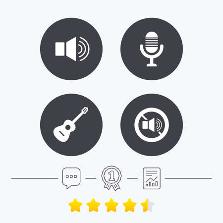 sound speaker: Musical elements icons. Microphone and Sound speaker symbols. No Sound and acoustic guitar signs. Chat, award medal and report linear icons. Star vote ranking. Vector