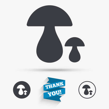 cep: Mushroom sign icon. Boletus mushroom symbol. Flat icons. Buttons with icons. Thank you ribbon. Vector