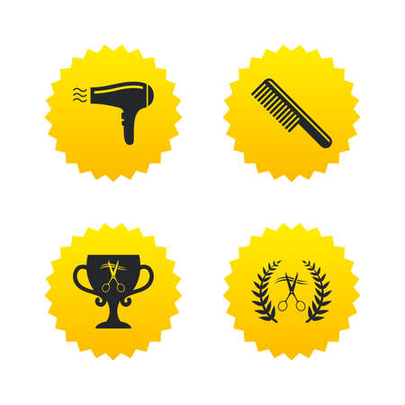 Hairdresser icons. Scissors cut hair symbol. Comb hair with hairdryer symbol. Barbershop laurel wreath winner award. Yellow stars labels with flat icons. Vector Illustration