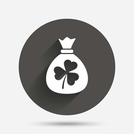 clover buttons: Money bag with three leaves clover sign icon. Saint Patrick trefoil shamrock symbol. Circle flat button with shadow. Vector Illustration