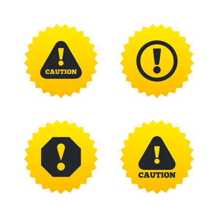 yellow attention: Attention caution icons. Hazard warning symbols. Exclamation sign. Yellow stars labels with flat icons. Vector