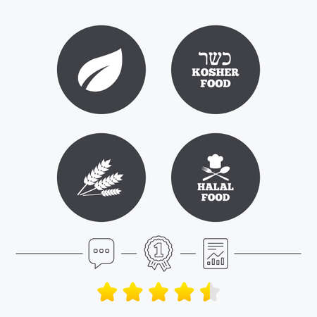 free vote: Natural food icons. Halal and Kosher signs. Gluten free. Chief hat with fork and spoon symbol. Chat, award medal and report linear icons. Star vote ranking. Vector