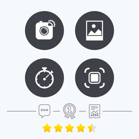 autofocus: Hipster retro photo camera icon. Autofocus zone symbol. Stopwatch timer sign. Landscape photo frame. Chat, award medal and report linear icons. Star vote ranking. Vector Illustration