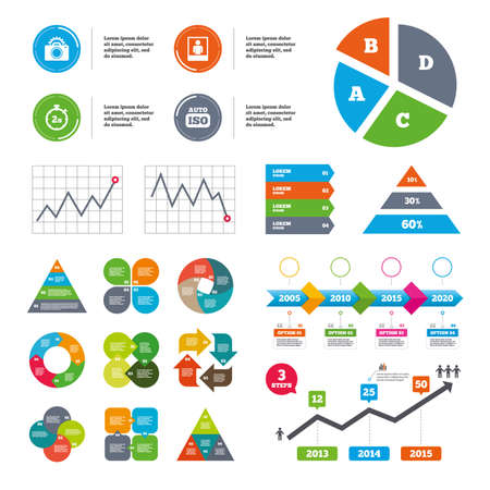 seconds: Data pie chart and graphs. Photo camera icon. Flash light and Auto ISO symbols. Stopwatch timer 2 seconds sign. Human portrait photo frame. Presentations diagrams. Vector