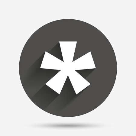 more information: Asterisk footnote sign icon. Star note symbol for more information. Circle flat button with shadow. Vector