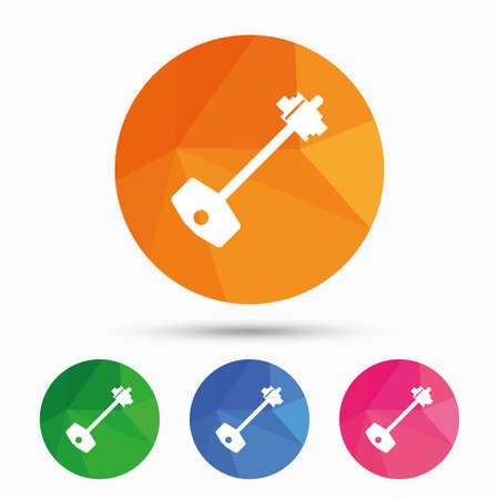 tool unlock: Key sign icon. Unlock tool symbol. Triangular low poly button with flat icon. Vector Illustration
