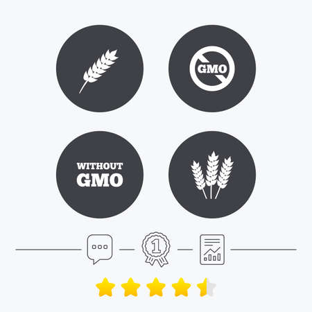 genetically modified crops: Agricultural icons. Gluten free or No gluten signs. Without Genetically modified food symbols. Chat, award medal and report linear icons. Star vote ranking. Vector