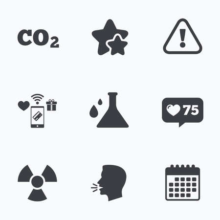 danger carbon dioxide  co2  labels: Attention and radiation icons. Chemistry flask sign. CO2 carbon dioxide symbol. Flat talking head, calendar icons. Stars, like counter icons. Vector
