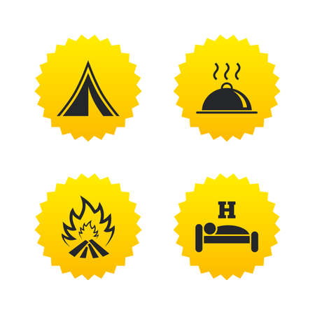breakfast in bed: Hot food, sleep, camping tent and fire icons. Hotel or bed and breakfast. Road signs. Yellow stars labels with flat icons. Vector