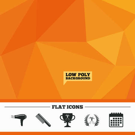 low cut: Triangular low poly orange background. Hairdresser icons. Scissors cut hair symbol. Comb hair with hairdryer symbol. Barbershop laurel wreath winner award. Calendar flat icon. Vector Illustration