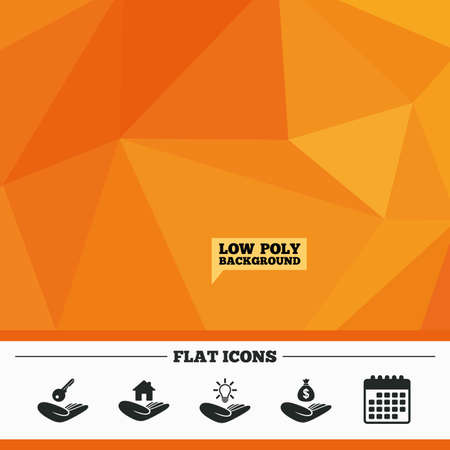 patent key: Triangular low poly orange background. Helping hands icons. Financial money savings insurance symbol. Home house or real estate and lamp, key signs. Calendar flat icon. Vector
