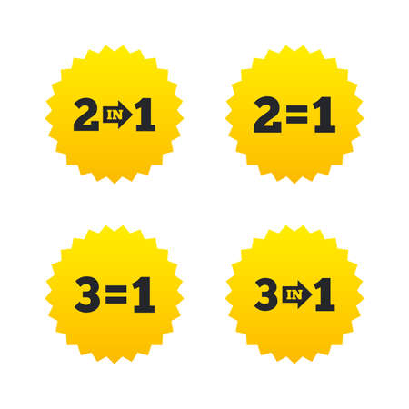 Special offer icons. Take two pay for one sign symbols. Profit at saving. Yellow stars labels with flat icons. Vector