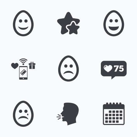 pasch: Eggs happy and sad faces icons. Crying smiley with tear symbols. Tradition Easter Pasch signs. Flat talking head, calendar icons. Stars, like counter icons. Vector