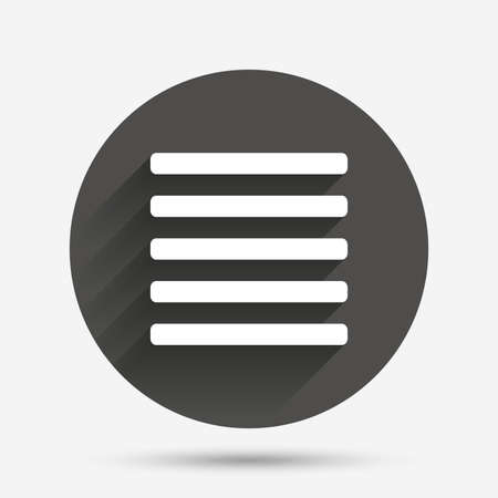 the view option: List sign icon. Content view option symbol. Circle flat button with shadow. Vector