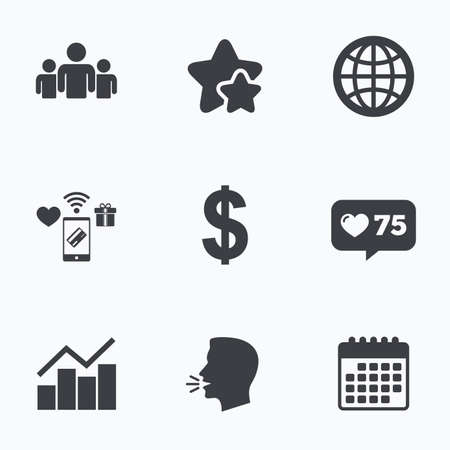 friend chart: Business icons. Graph chart and globe signs. Dollar currency and group of people symbols. Flat talking head, calendar icons. Stars, like counter icons. Vector