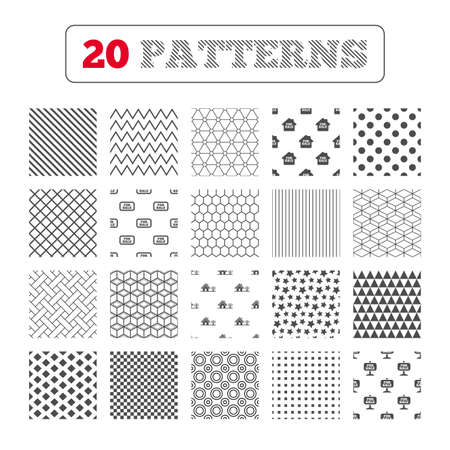 house for sale: Ornament patterns, diagonal stripes and stars. For sale icons. Real estate selling signs. Home house symbol. Geometric textures. Vector Illustration