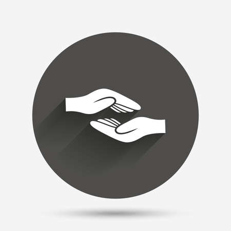 endowment: Helping hands sign icon. Charity or endowment symbol. Human palm. Circle flat button with shadow. Vector