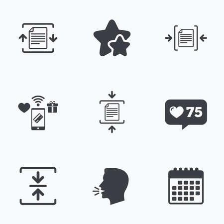 compression: Archive file icons. Compressed zipped document signs. Data compression symbols. Flat talking head, calendar icons. Stars, like counter icons. Vector