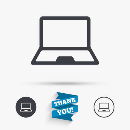 ultrabook: Laptop sign icon. Notebook pc symbol. Flat icons. Buttons with icons. Thank you ribbon. Vector