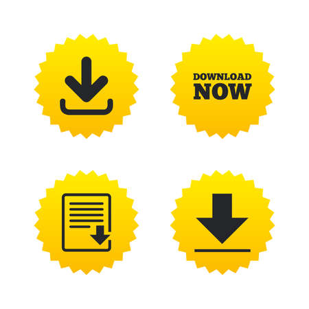 remote server: Download now icon. Upload file document symbol. Receive data from a remote storage signs. Yellow stars labels with flat icons. Vector Illustration