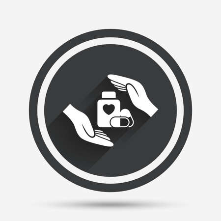 pills bottle: Medical insurance sign icon. Hand holds pills bottle drugs. Health Insurance. Circle flat button with shadow and border. Vector