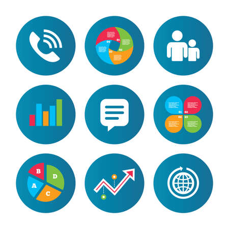 friend chart: Business pie chart. Growth curve. Presentation buttons. Group of people and share icons. Speech bubble and round the world arrow symbols. Communication signs. Data analysis. Vector