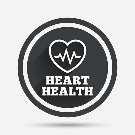 heart health: Heartbeat sign icon. Heart health cardiogram check symbol. Circle flat button with shadow and border. Vector