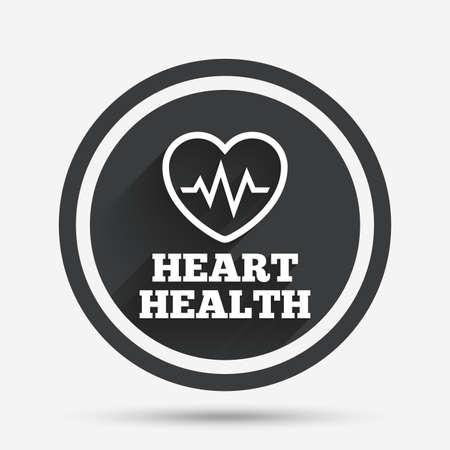 Icono de señal de latido del corazón. Símbolo de verificación cardiograma la salud del corazón. botón plano círculo con sombra y la frontera. Vector Foto de archivo - 63049544