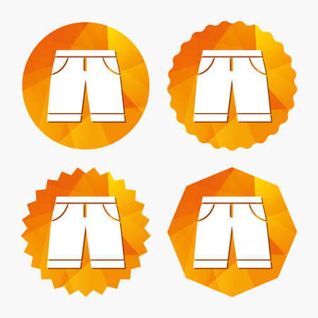 Mens Bermuda shorts sign icon. Clothing symbol. Triangular low poly buttons with flat icon. Vector
