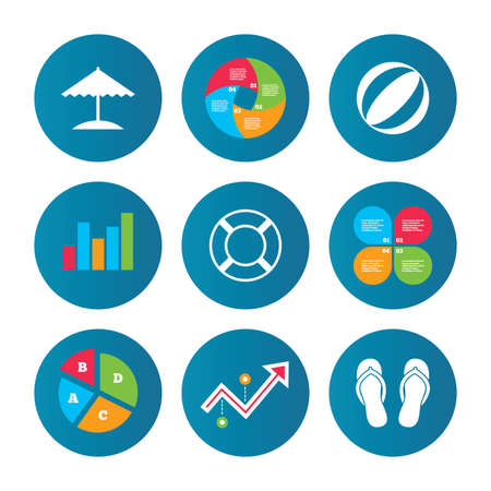 curve ball: Business pie chart. Growth curve. Presentation buttons. Beach holidays icons. Ball, umbrella and flip-flops sandals signs. Lifebuoy symbol. Data analysis. Vector