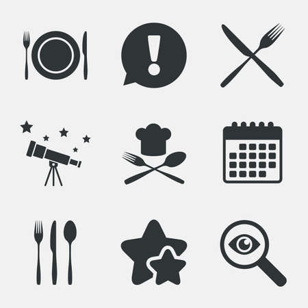 etiquette: Plate dish with forks and knifes icons. Chief hat sign. Crosswise cutlery symbol. Dining etiquette. Attention, investigate and stars icons. Telescope and calendar signs. Vector