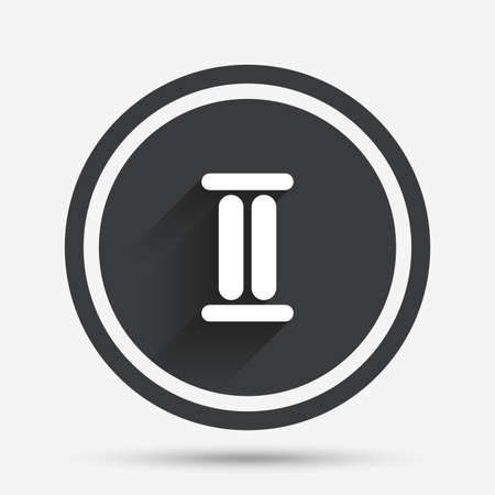 numeral: Roman numeral two sign icon. Roman number two symbol. Circle flat button with shadow and border. Vector