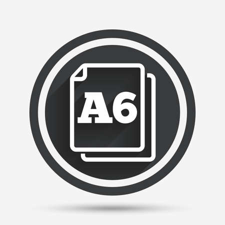 a6: Paper size A6 standard icon. File document symbol. Circle flat button with shadow and border. Vector Illustration