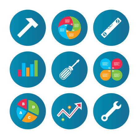 bubble level: Business pie chart. Growth curve. Presentation buttons. Screwdriver and wrench key tool icons. Bubble level and hammer sign symbols. Data analysis. Vector