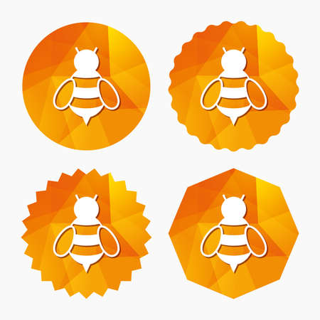 apis: Bee sign icon. Honeybee or apis with wings symbol. Flying insect. Triangular low poly buttons with flat icon. Vector