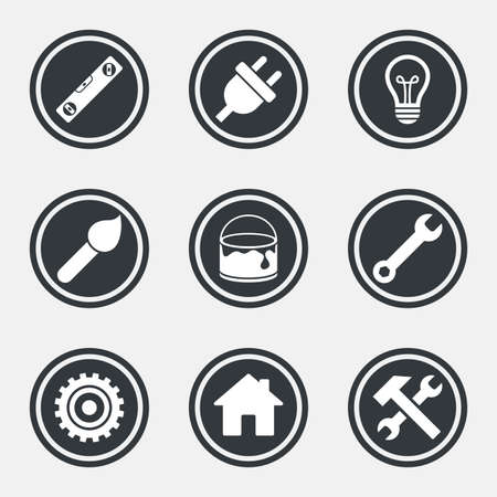 spirit level: Repair, construction icons. Hammer, wrench tool and cogwheel signs. Electric plug, lamp and house symbols. Circle flat buttons with icons and border. Vector