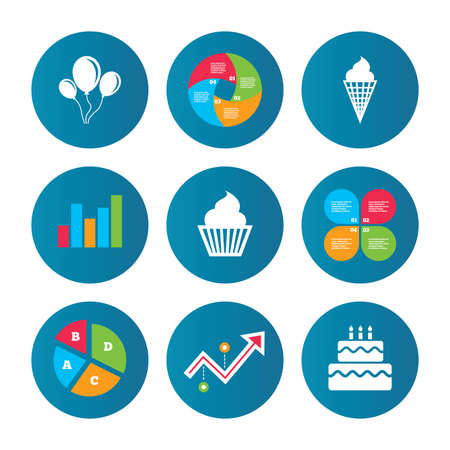 cream pie: Business pie chart. Growth curve. Presentation buttons. Birthday party icons. Cake with ice cream signs. Air balloons with rope symbol. Data analysis. Vector