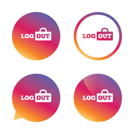 lock out: Logout sign icon. Sign out symbol. Lock icon. Gradient buttons with flat icon. Speech bubble sign. Vector
