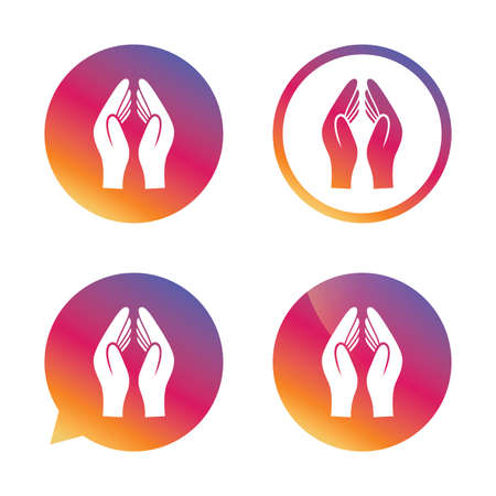 Pray hands sign icon. Religion priest faith symbol. Gradient buttons with flat icon. Speech bubble sign. Vector