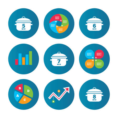 growth hot: Business pie chart. Growth curve. Presentation buttons. Cooking pan icons. Boil 5, 6, 7 and 8 minutes signs. Stew food symbol. Data analysis. Vector