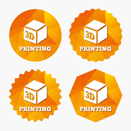 additive manufacturing: 3D Print sign icon. 3d cube Printing symbol. Additive manufacturing. Triangular low poly buttons with flat icon. Vector